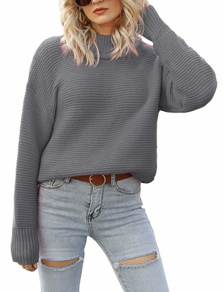 FANCYINN Women's Causal Turtleneck Sweaters Long Batwing Sleeve Loose Chunky Knitted Pullover Tops Grey XL