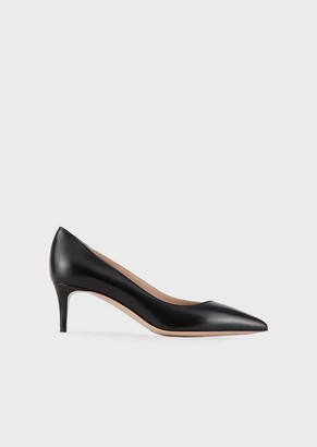 Giorgio Armani Leather Court Shoes With Asymmetric Top Line