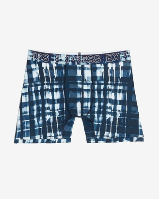 Express Painted Plaid Moisture-Wicking Performance Boxer Briefs
