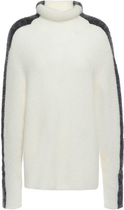 Ganni Callahan Two-tone Brushed Ribbed-knit Turtleneck Sweater