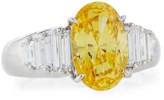 FANTASIA Oval CZ Cocktail Ring w/ Stepped Baguettes, Yellow, Size 6