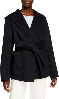Vince Hooded Wool-Cashmere Coat with Belt