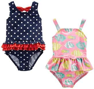 Carter's Simple Joys by Baby Girls' 2-Pack One-Piece Swimsuits