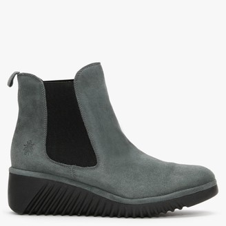 Fly London Lita Grey Slate Suede Low Wedge Chelsea Boots