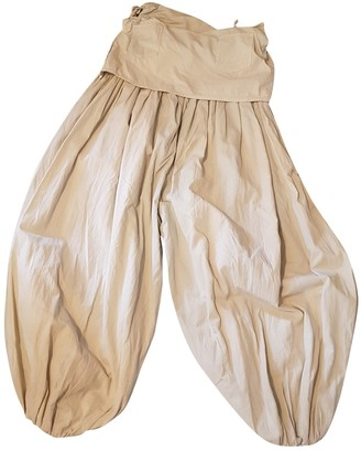 Non Signé / Unsigned Non Signe / Unsigned Oversize Beige Cloth Trousers for Women Vintage
