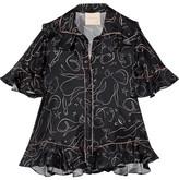 Roksanda Rosler Ruffled Printed Silk-twill Blouse - Midnight blue