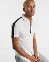 SikSilk short sleeve shirt in white with logo taping