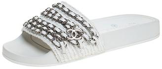 Chanel White Tweed Fabric CC Chain Embellished Flat Slides Size 35