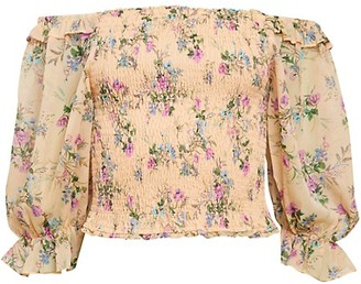 Allison New York Smocked Floral Puff-Sleeve Crop Top