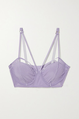 LONELY Gigi Velvet-trimmed Flocked Stretch-tulle Underwired Soft-cup Bra - Lavender
