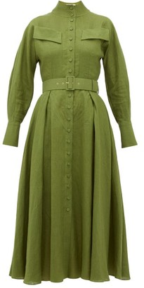 Emilia Wickstead Appolina Belted Linen Shirtdress - Womens - Khaki