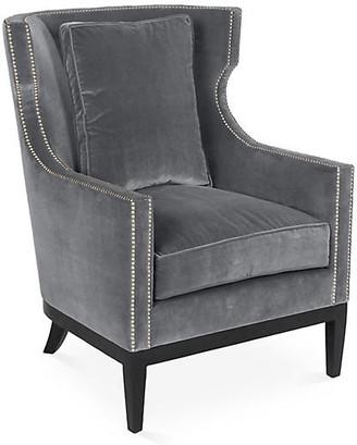 Kim Salmela Roswell Wingback Chair - Charcoal Velvet