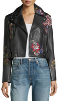 Alice + Olivia Cody Embroidered Cropped Leather Jacket