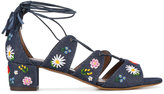 Tabitha Simmons embroidered denim sandals - women - Cotton/Leather - 36