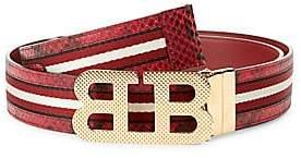 Bally Men's Iconic Buckle Mirror Stripe Belt