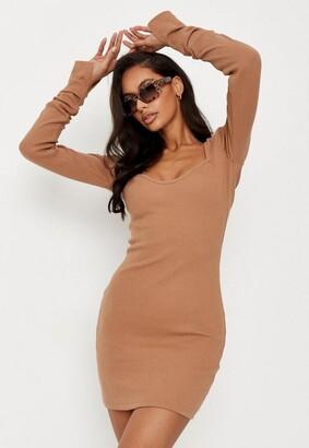 Missguided Tall Camel Rib Long Sleeve Mini Dress