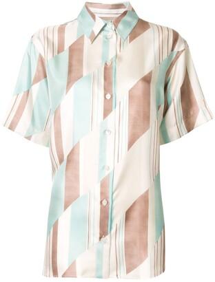 Jil Sander Geometric Short-Sleeved Silk Shirt