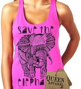 Queen Apparel- Save the elephants tank top U.S.A. womens (x-large, coral)