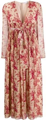 RED Valentino Empire-Line Floral Midi-Dress