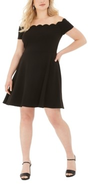 B. Darlin Trendy Plus Size Scalloped Off-The-Shoulder A-Line Dress
