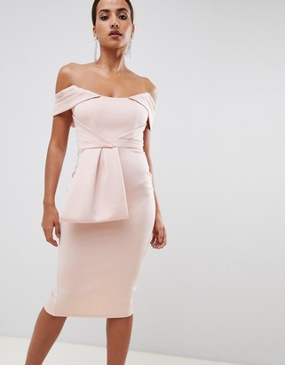 ASOS DESIGN bardot peplum midi bodycon dress