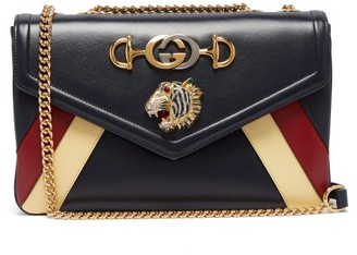 Gucci Rajah Smooth Leather Shoulder Bag - Womens - Navy Multi