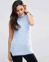 Asos Sleeveless Knit Top in Fluffy Yarn with Roll Neck