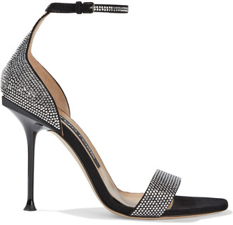 Sergio Rossi Milano 105 Crystal-embellished Suede Sandals