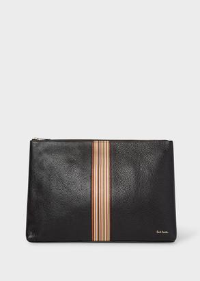 Paul Smith Men's Black Leather Signature Stripe Document Pouch