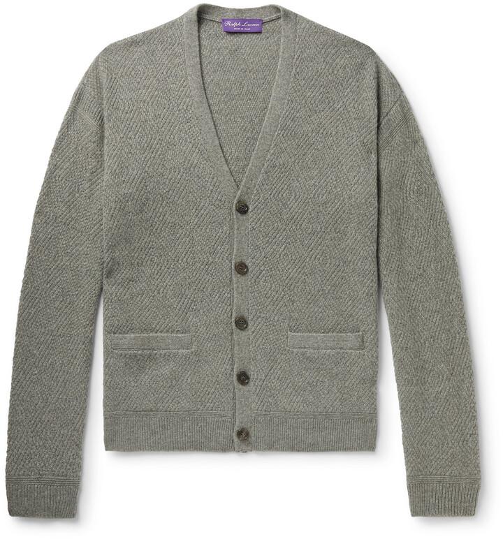 Thumbnail for your product : Ralph Lauren Purple Label Textured Melange Cashmere Cardigan