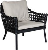 GLOBE WEST Deck Chairs Rumba Mesh Rattan Armchair, GW Black Mesh