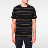 Paul Smith Men's Khaki Stripe Panelled-Cotton T-Shirt