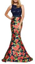 Mac Duggal Lace Floral Skirt Gown