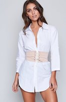 Beginning Boutique Alexa Shirt Dress and Corset Set White Beige