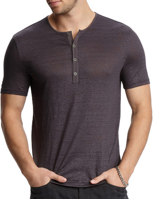John Varvatos Men's Regular-Fit Short-Sleeve Linen Henley Shirt