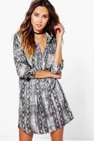 Boohoo Arianna Snake Print Shirt Dress