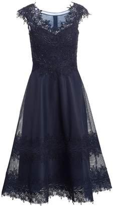 Teri Jon By Rickie Freeman Illusion Cap-Sleeve Fit-&-Flare Dress