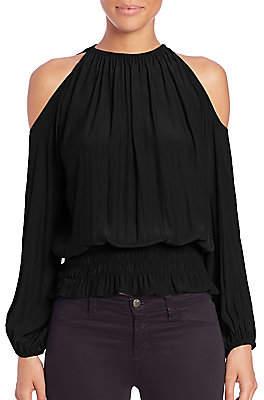 Ramy Brook Women's Lauren Cold-Shoulder Smocked Top