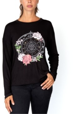 Rebellious One Juniors' Floral-Graphic Top