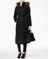 MICHAEL Michael Kors Faux-Fur-Trim Hooded Down Belted Puffer Coat