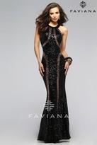 Faviana 7708 Sequin Scoop Neck Evening Dress
