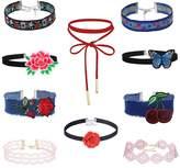 MingJun 10 PCS Embroidered Floral Lace Denim Velvet Choker Necklace Set Gothic Adjustable Necklace for Women Girls 90s