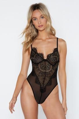 Nasty Gal Womens V-Neckline Lace Bodysuit with Adjustable Straps - Black