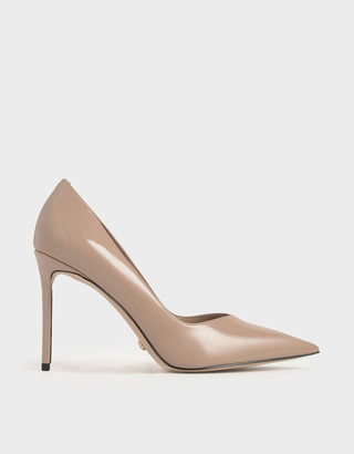 Charles & Keith Patent Leather Printed Pointed Toe Pumps