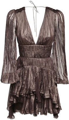 Maria Lucia Hohan Dania Metallic Silk Mini Dress