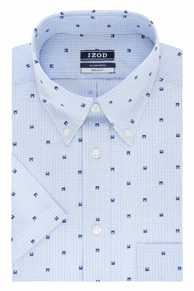 Izod Men's Short Sleeve Dress Shirt Regular Fit Stretch Print