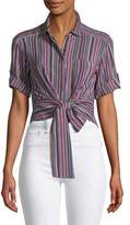 Nanette Lepore Sassy Stripe Self-Tie Silk Top