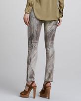 Haute Hippie Feather-Print Slim Jeans