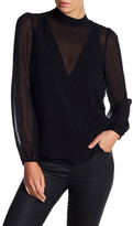Line & Dot Tautou Mesh Contrast Long Sleeve Blouse