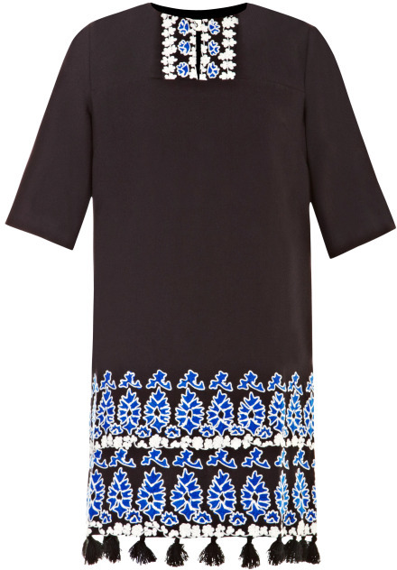 Suno Tunic with Embroidery and Pom-Pom Detail
